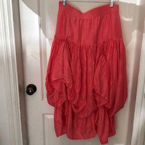 Women's pink 100%silk tier/pouf skirt